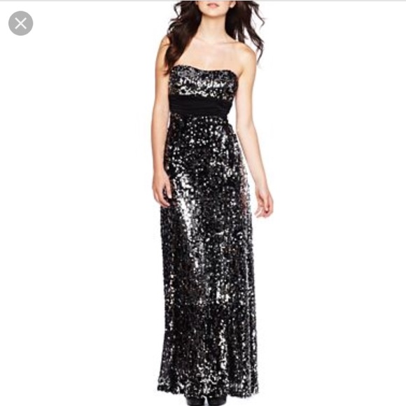 Speechless Dresses | Nwt Black Silver Strapless Sequin Prom Dress ...